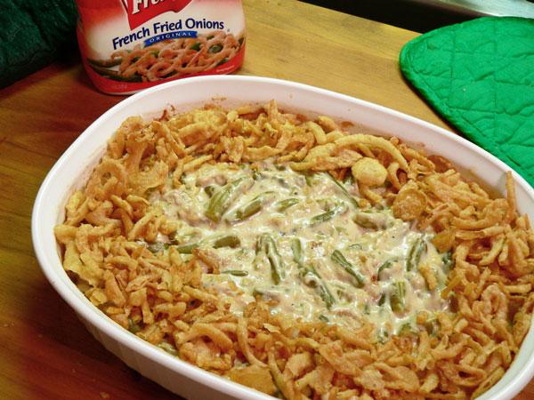 Green Bean Casserole, add more onions.