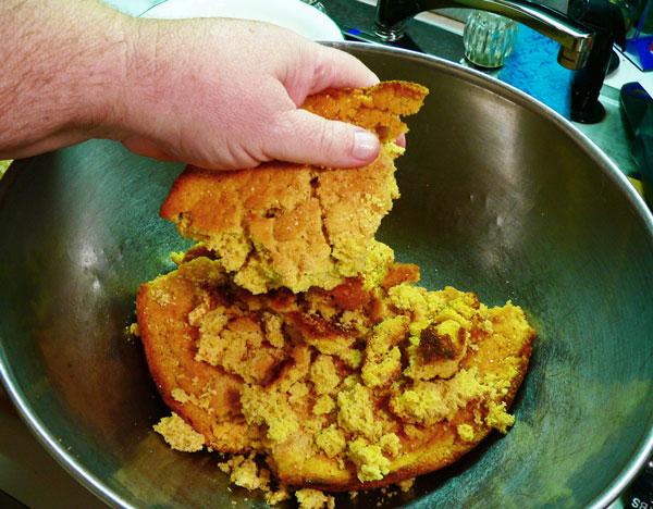 Cornbread Dressing, crumble the cornbread.