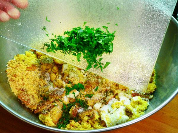 Cornbread Dressing, add the herbs.