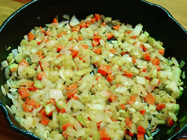Cornbread Dressing, remove veggies from heat.