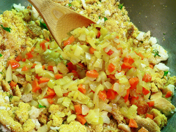Cornbread Dressing, add to the dry mixture.