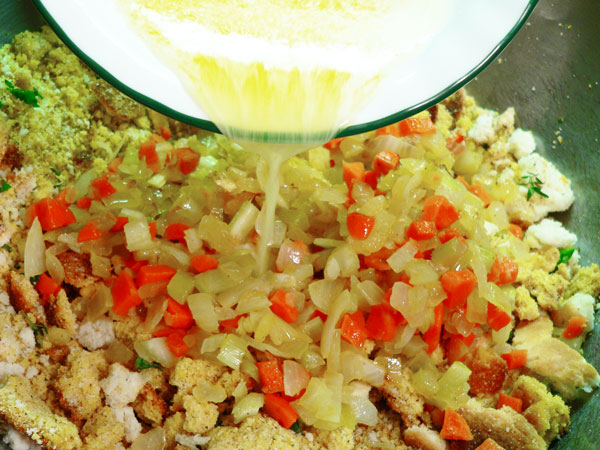 Cornbread Dressing, add the melted butter.