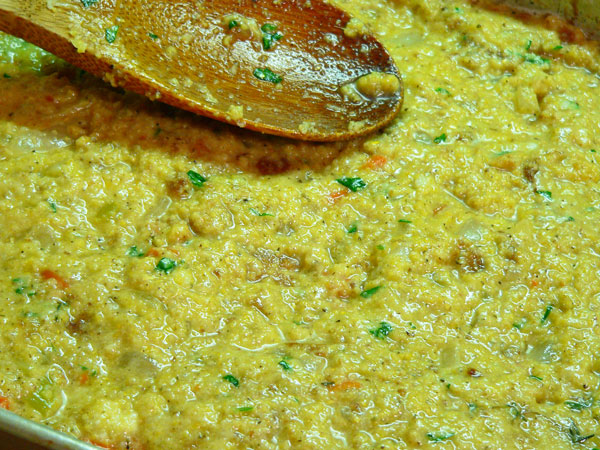 Cornbread Dressing, moist but not soupy.