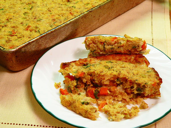 Cornbread Dressing, serve warm and enjoy.