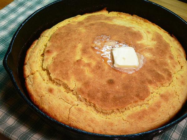 Cornbread and Eggs, cornbread.