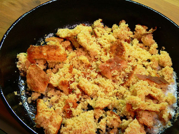 Cornbread and Eggs, add crumbled cornbread.