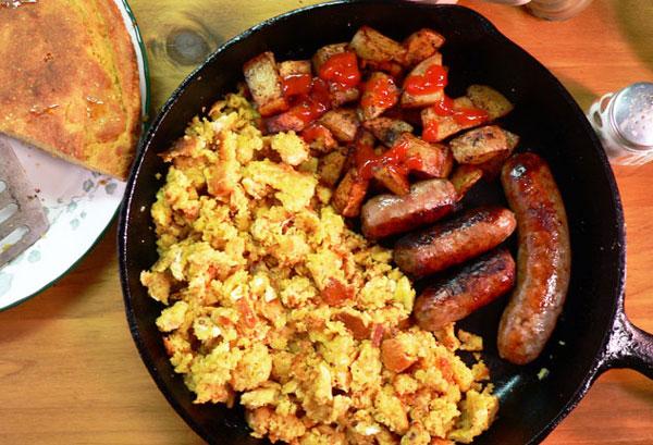 Cornbread and Eggs, serve warm and enjoy.