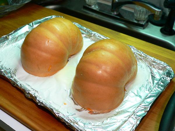 Pumpkin Pie, cut side down.