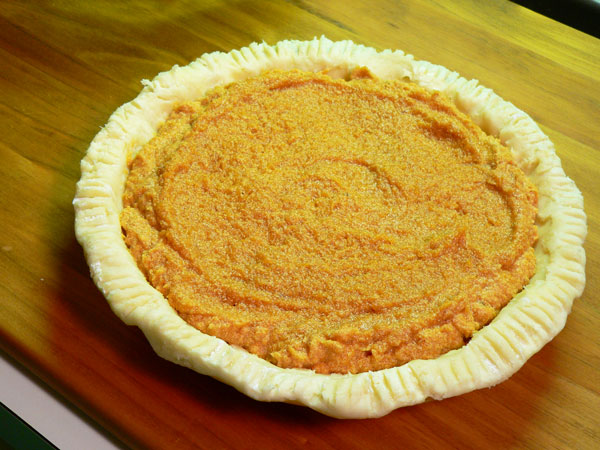 Sweet Potato Pie, ready to bake.