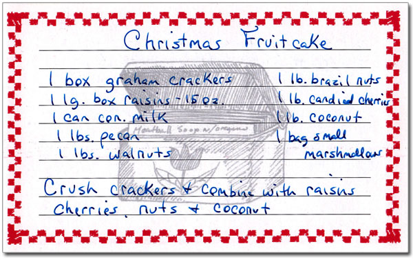 Annie's Fruitcake, handwritten recipe card.