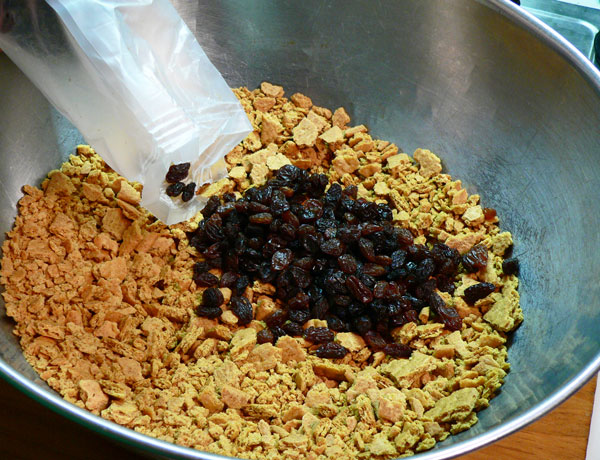 Annie's Fruitcake, add the raisins.