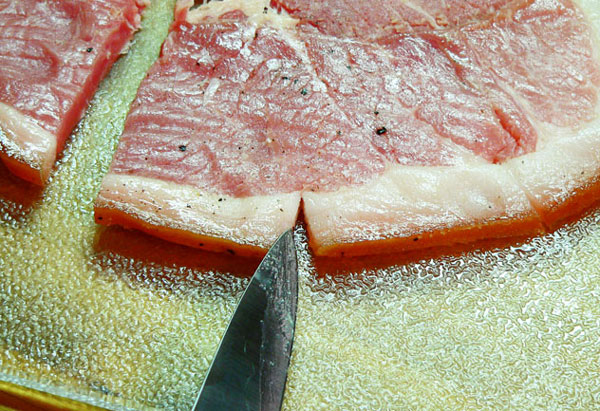 Country Ham, cut the fat.