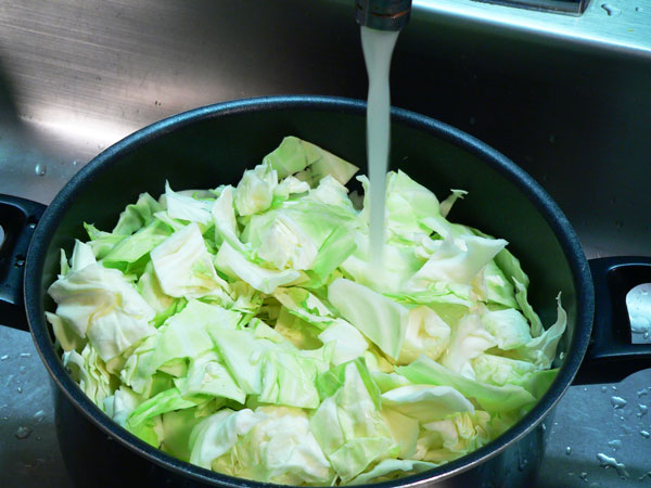 Cabbage Casserole, cover cabbage with water.