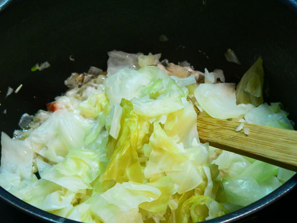 Cabbage Casserole, add the cabbage.