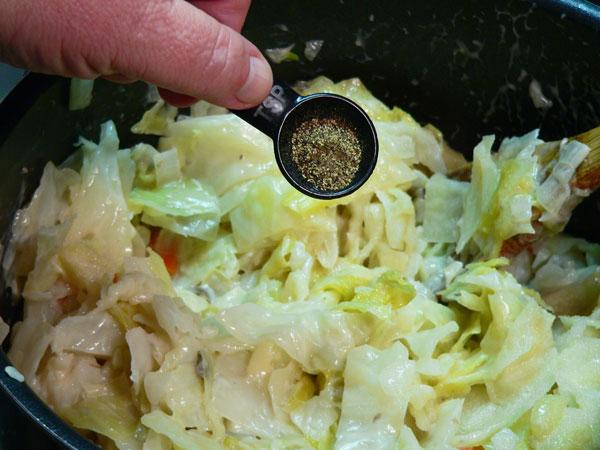 Cabbage Casserole, add the black pepper.