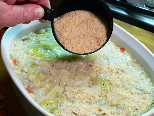 Cabbage Casserole, add the breadcrumbs.
