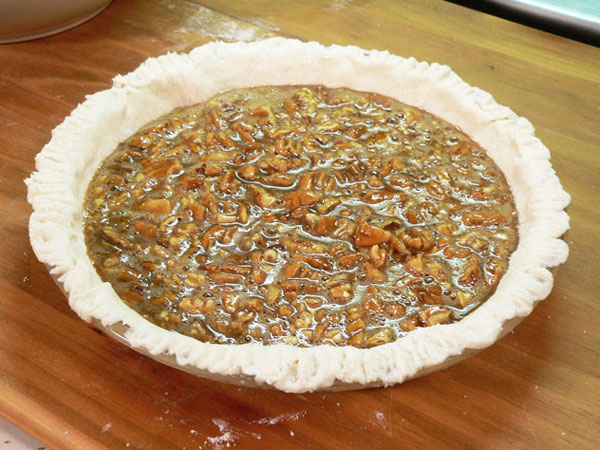 Pecan Pie, add the filling.