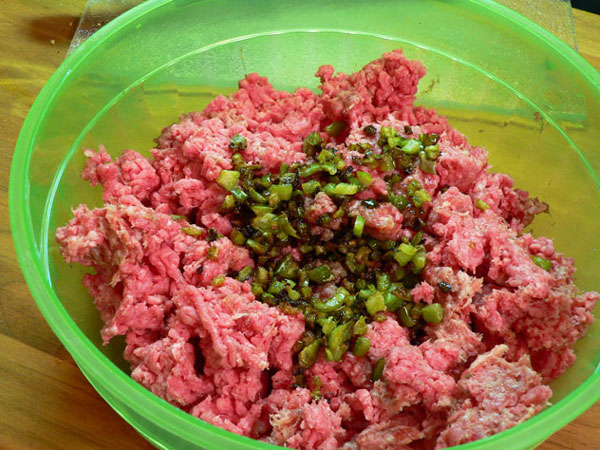 Sausage-Beef-Meatloaf, add the cooked celery and peppers.