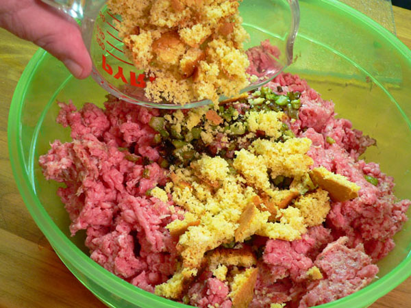 Sausage-Beef-Meatloaf, add the crumbled cornbread.