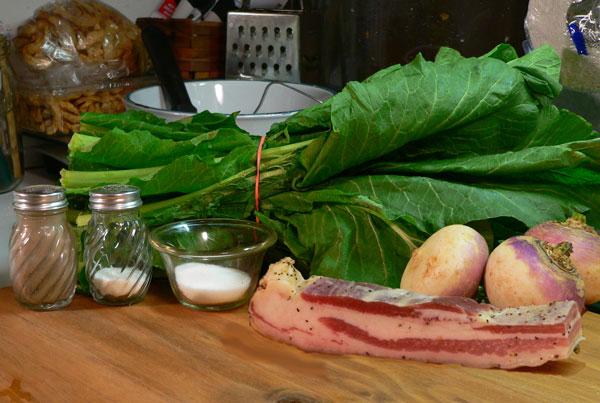 Turnip Greens, ingredients.
