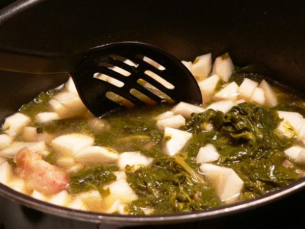 Turnip Greens, stir well.