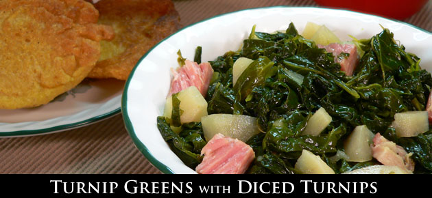 Turnip Greens with Diced Turnips recipe, slider.