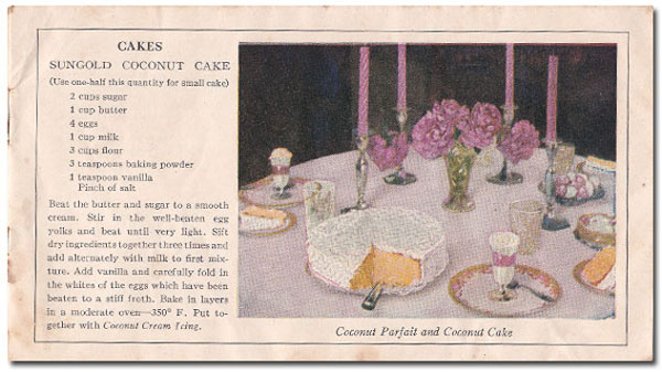 Baker's Coconut Cake booklet, inside view.