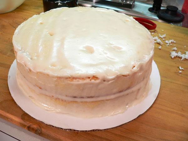 Baker's Coconut Cake, a fully iced cake.