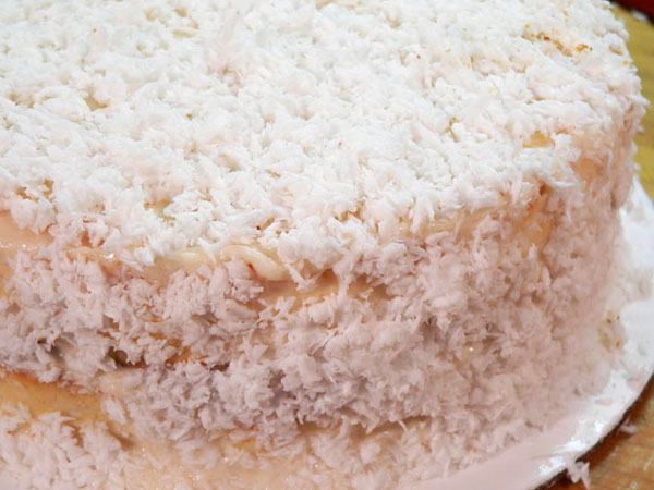 Baker's Coconut Cake, covered with coconut.