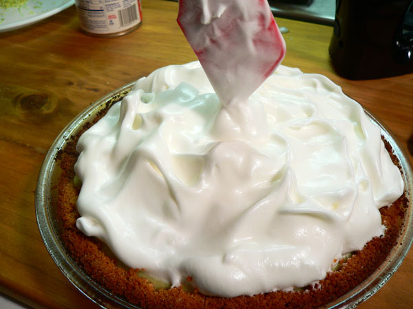 Key Lime Pie, spread to the edges.