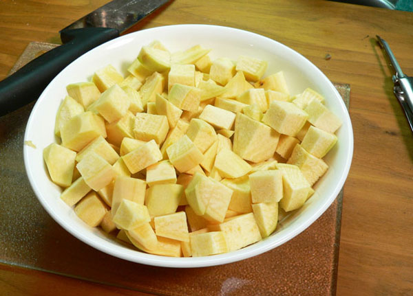 Mashed Rutabagas, all cubed up and ready for cooking.
