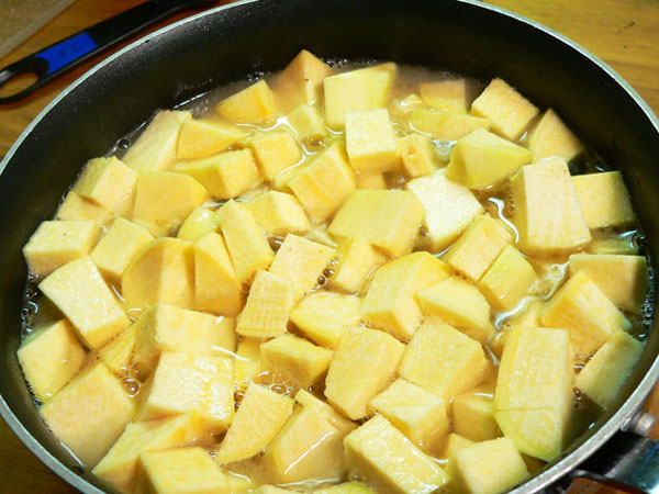 Mashed Rutabagas, add the diced rutabagas.