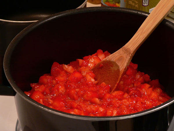 Strawberry Syrup, place in sauce pan.