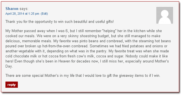 Taste of Southern, Mother's Day Giveaway winner announced.