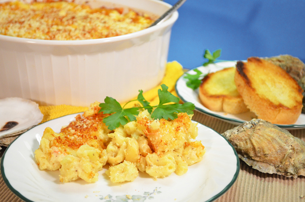 Seafood Mac and Cheese recipe, as seen on Taste of Southern.