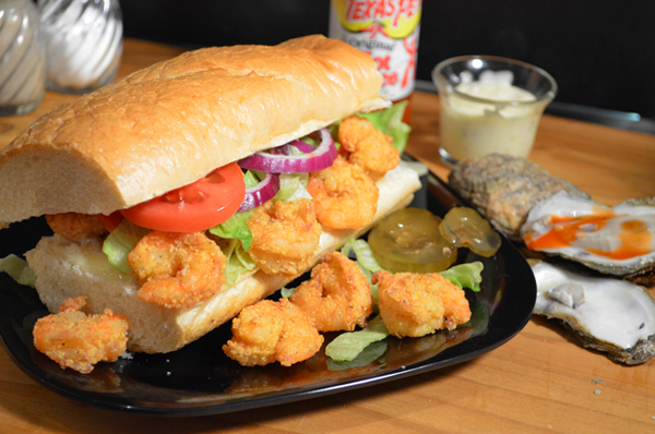 Shrimp Po' Boy sandwich recipe, as seen on Taste of Southern.