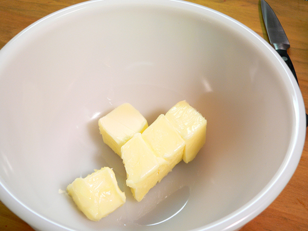 Butter Milk Pie, place softened butter in a mixing bowl.