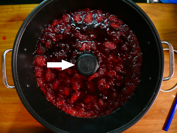 Ball FreshTECH Strawberry Jam, remove the stirrer.