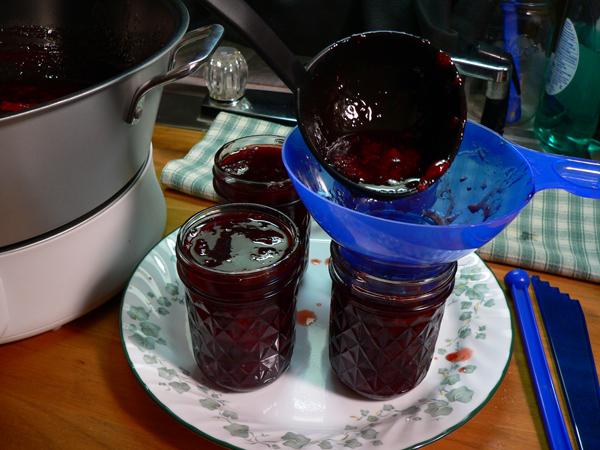 Ball Jam & Jelly Maker, Strawberry Jam, filling the jars.