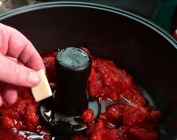 FreshTECH Jam & Jelly Maker, add the butter.