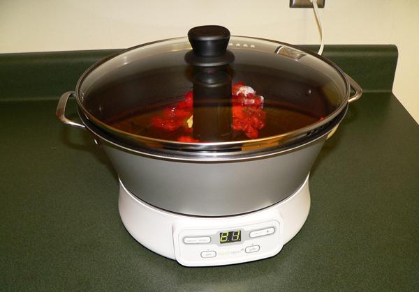 FreshTECH Jam & Jelly Maker, making strawberry jam.