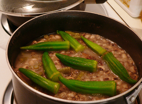 Field peas with snaps and okra, add okra to the sauce pot.
