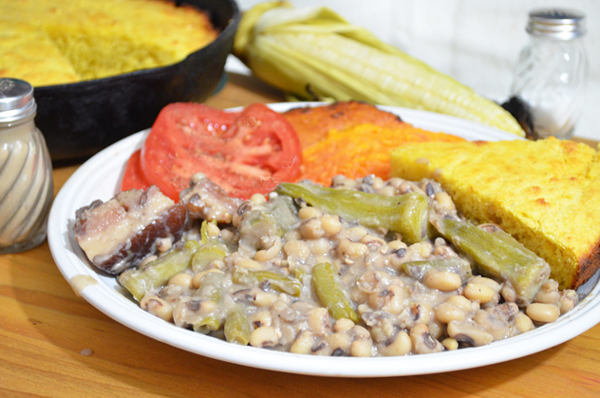 Field peas with snaps and okra, serve warm and enjoy.