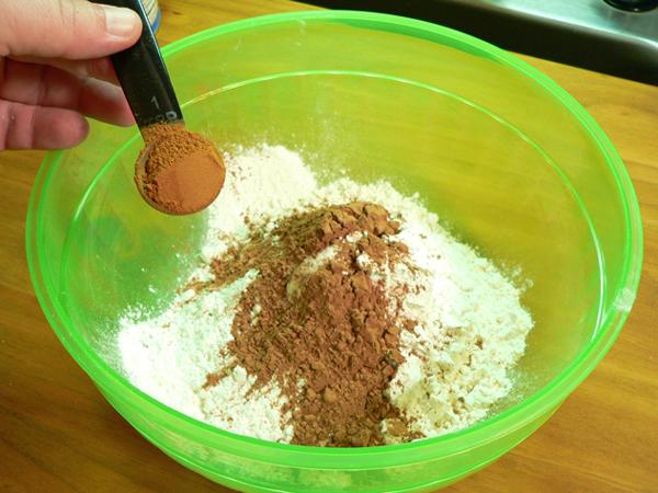 Spanish Bar Cake, add the cocoa.