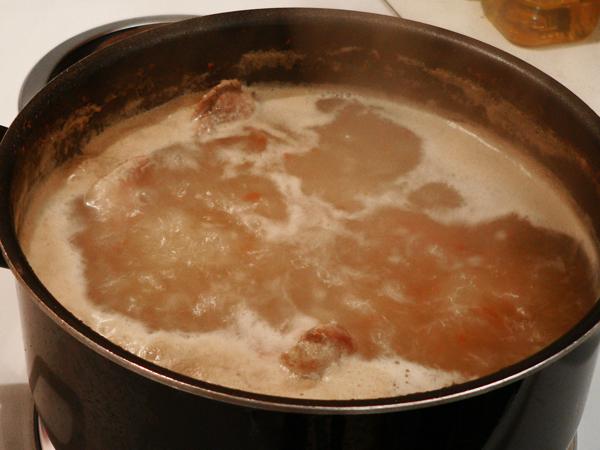 Pork Neck Bones, boil.