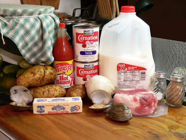 Clam Chowder, ingredients you'll need.