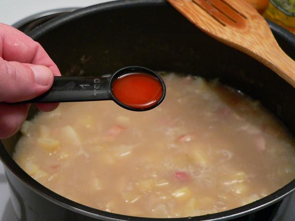 Clam Chowder, add some hot sauce.
