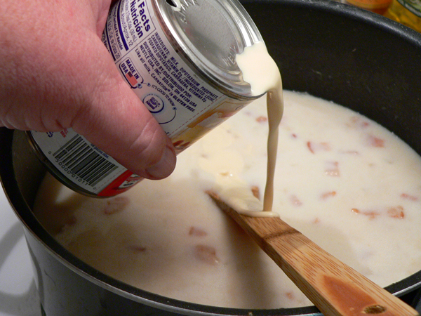 Clam Chowder, add evaporated milk.
