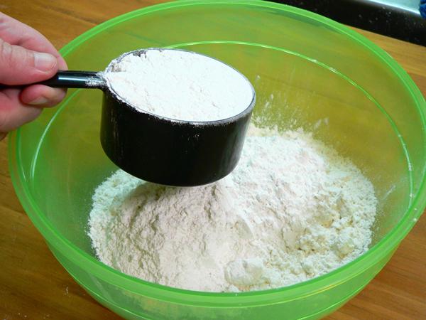 Coconut Cake, measure the flour.