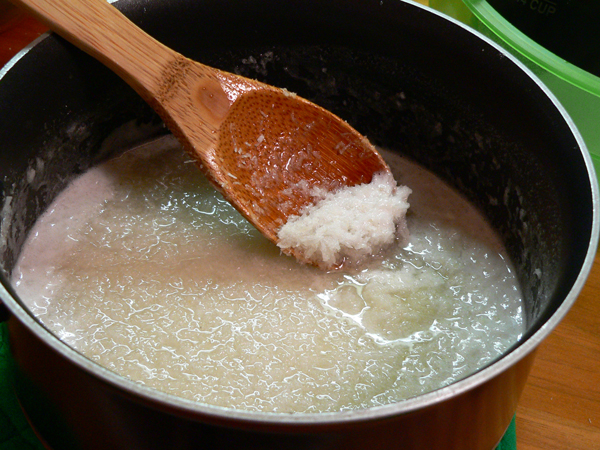 Coconut Cake, add to sauce pot.